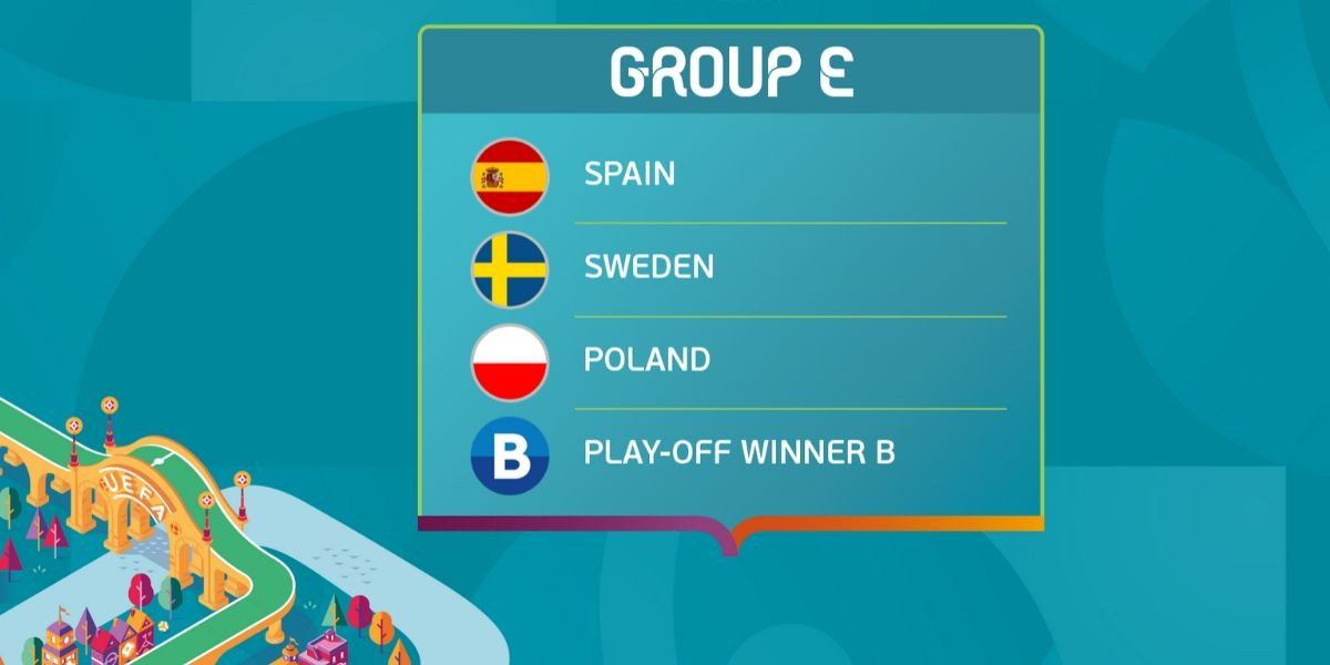 Spain, Poland, and Sweden are waiting for Play-off Winner B in Group E